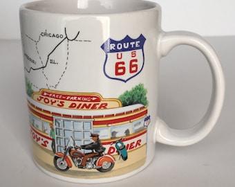 Vintage Route 66 Mug Motorcycle VW Beetle Car Otagiri Stanley Papel Coffee Tea Cup Arizona California New Mexico Oklahoma Diner