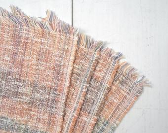 Vintage Woven Placemats 1970s Pastel Fuzzy Fringe Placemats Plaid Print Placemat Set of 4