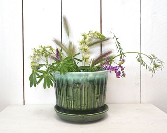 McCoy Bamboo Planter Pot 1960s Vintage Blue Green Drip Ceramic Plant Pot with Water Drain Tray 0374