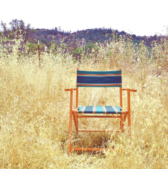 Folding Beach Chair Vintage Striped Canvas By