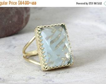 25% OFF SALE - gold rectangular ring,blue topaz ring,bright quartz ring,gold ring,gemstone ring,precious ring,statement ring,evenin