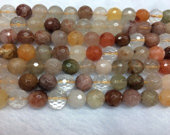 6mm Round Cut Quartz Rutilated Mix Bead Semiprecious Gemstone Bead String Beading 15''L Jewelry Supply Wholesale Beads
