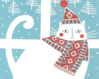 Winter White Cat Print - Christmas Limited Edition of 9 Linocuts - Rare Lino Print  - Printmaking Art Gift -  Artist Print