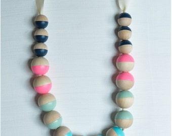 Cream Ribbon, Bright Chunky Wood Necklace