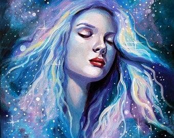 "8 x 10, Fine Art Print, ""Bury Me in the Stars"", painting by Kamille Freske, wicca, celestial, space, pagan art, fairy art, fantasy art, fae"