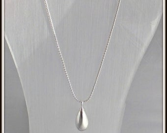 OOAK Handmade sterling silver Hollow Drop pendant Brushed finish Sterling silver popcorn chain Modern contemporary for woman