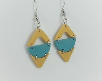 Yellow and teal geometric polymer clay earrings