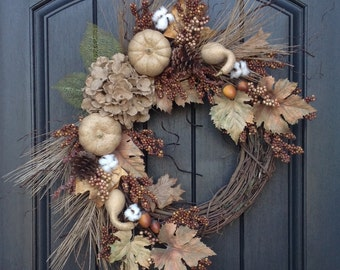Fall Wreath Thanksgiving Wreath Brown Berry Branches Wispy Twig-Burlap Hydrangea-Acorns-Cotton-Floral Door Decoration Indoor Outdoor