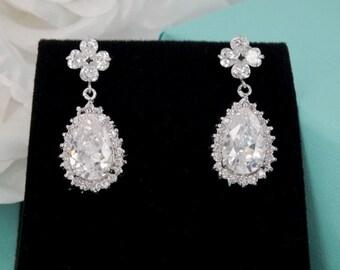 Crystal Clovers - Cubic Zirconia Bridal Earrings
