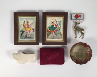 The Eclectic Romantic Collection: Victorian Book Flameno Print Brass Deer Figurine Pill Box Peacock Bowl Dutch Shoe Planter