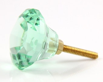 Sea green faceted glass knob 3.4cm GRN014
