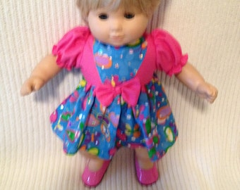 15 inch doll (modeled by Bitty Baby) Minnie dress and matching headband