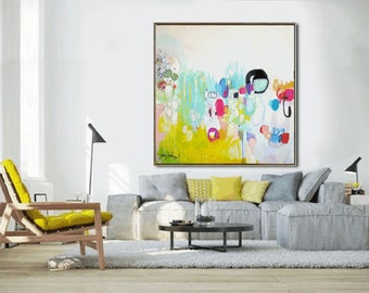 """48""""x48""""x1,5""""  original abstract painting wall art large painting by Jolina Anthony"""