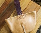 CARMEL WRISTLET Handmade leather bag taupe tan beige brown purse small kate michigan