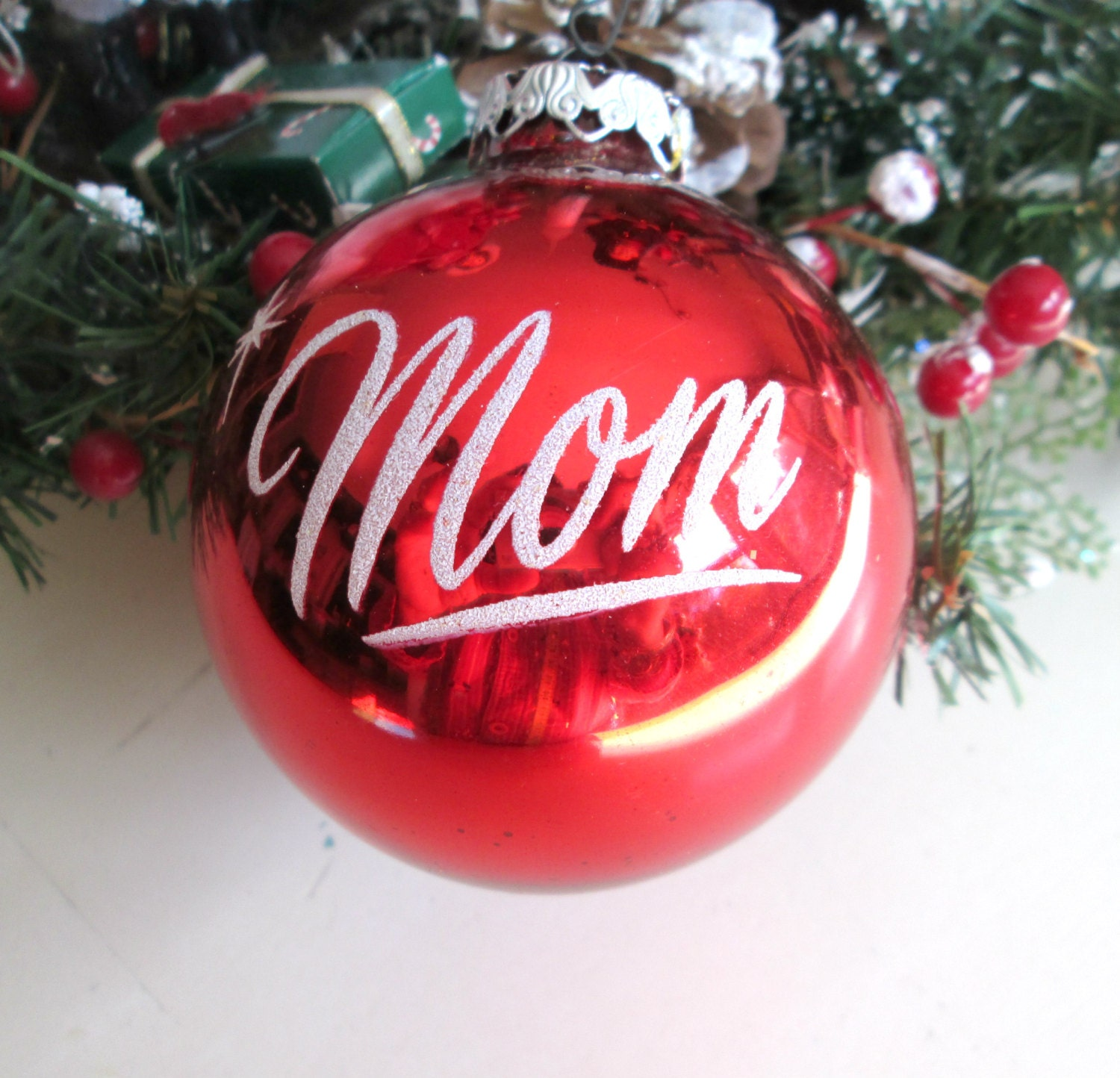 mom red glass ball tree ornament vintage christmas made in