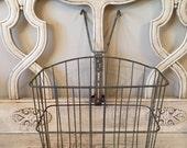 Vintage Wire Bike Basket - Industrial Storage