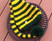 Green Bay Packers Football Hat/Packers hat/Long tail hat/Stocking Hat (fits 0-3, 3-6, 6-9, 9-12 months, 1-3 years, child, adult)