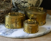Vintage Brass Cricket Boxes.