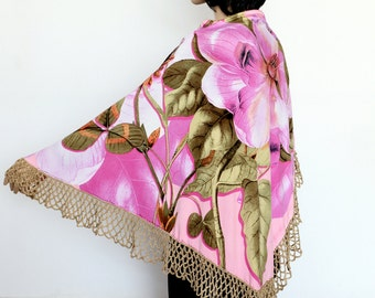 Pink floral Shawl combining crochet and fabric Gypsy shawl,  Russian Style Shawl,