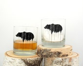 Bear Above Tree Line Rock Glasses - Screen Printed Whiskey Glasses - Set of Two 11oz. Tumblers