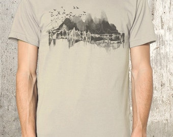 Men's Organic T-Shirt - Topography Nature and Soundwaves - Men's Small Through 2XL Available