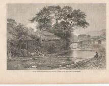 Antique Engraving of Japanese Island Views, Isle of Kiousiou,Japan  1866