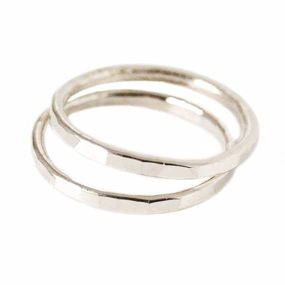two silver stacking rings sterling ring bands hammered