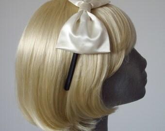 Ivory Headband, Ivory Bow Headband, Ivory Satin Bow Headband, Ivory Bow Aliceband, Ivory Hair Bow, Ivory Hair Accessories