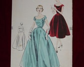 Vintage Pattern c.1954 Vogue No.7512 Evening Gown, Cocktail Dress, Sz.16