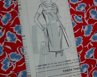 Vintage Pattern c.1960's Mail Order Dress No.8296 Size 36, Bust 38, Uncut