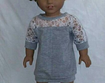 Dolman lace tunic for 18 inch dolls