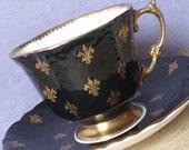 Antique 1930's Aynsley black tea cup and saucer, gold fleur de lis tea cup, English tea cup, bone china teacup, 20th Anniversary gift