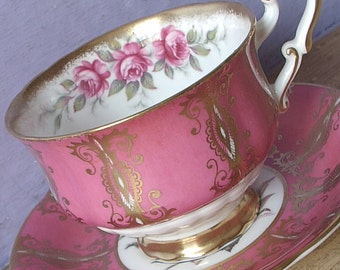 Vintage 20th Anniversary Gift, Paragon pink tea cup and saucer, Artist Signed, Pink and Gold English bone china teacup, Pink rose tea cup