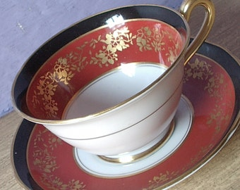 Vintage 1920's English teacup and saucer, Grosvenor black and red Tea cup set, Red and Gold bone china teacup, Antique teacup