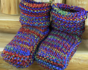Joy! - Hand Spun/Hand Dyed/Knit Sheepskin Soled Booties 18-24 Months