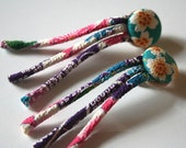 Turquoise and flowered japanese fabric earings with button