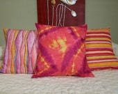 Modern  BOHO Hippie Pillow Cover. Tye Dye. Raspberry Lemon Sunshine