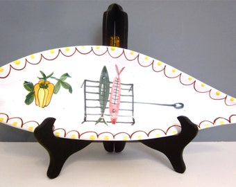 Vintage italian ceramic platter, hand painted pottery, fish serving tray