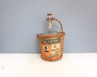 Vintage wicker wine bottle cover, wicker covered Valentino red table wine, bar decor