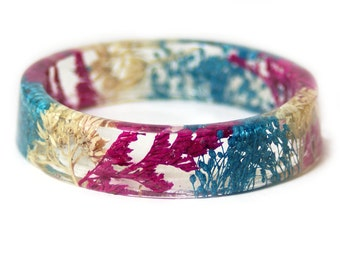 Bracelet - Jewelry with Real Flowers- Dried Flowers- Blue  Bracelet - Pink Dried Flowers- Tan Bracelet- Resin Jewelry