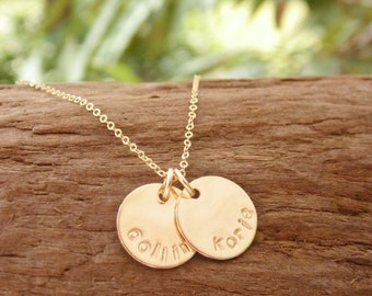 Stamped Name Necklace Gold Fill Disc Tag Personalized Jewelry Two Names