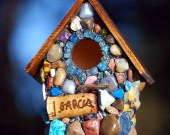 unique birdhouse Fairy garden birdhouse Mosaic Whimsical wine cork, shades of blue, Oregon Ducks unique gift OOAK blue sun-catcher yard art