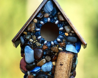 Small birdhouse mosaic garden art birdhouse wine cork infused with dragonflys blue lace agate conversation piece table topper winestone love