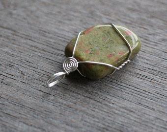 Unakite Sterling Silver Pendant #4389