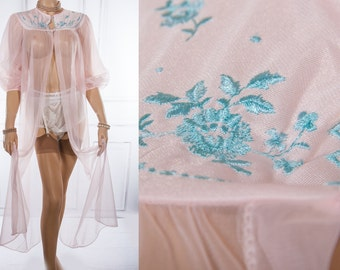 Delightful incredibly sheer rose pink shimmering nylon and contrasting embroidery detail 1960's vintage full length negligee robe - 3764