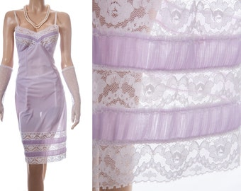 Adorable 'Adilo' 1950's vintage slip - silky soft sheer lilac Perlon and delicate ivory white lace detail full slip underskirt - 3654