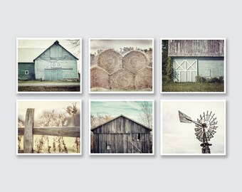Farmhouse Decor, Fixer Upper Wall Decor, Aqua Teal Beige, Farmhouse Gallery Set of 6, Barn Art, Farmhouse Art, Farmhouse Decor, Country Art.