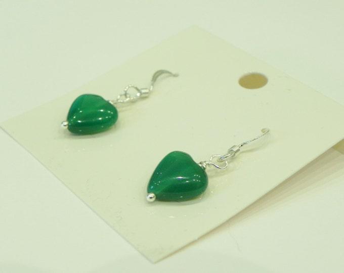 Green agate heart sterling silver drop earrings|green gemstone|green hearts|agate hearts|sterling silver hooks|gemstone hearts
