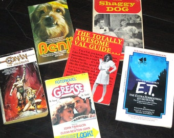 1980s Paperback Movie Books/E.T./Conan the Barbarian/Grease/Benji/The Shaggy Dog/Valley Girl/Book Lot/Movie Paperback Books