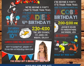 Dr Seuss Inspired Birthday Invitation-With or Without Picture